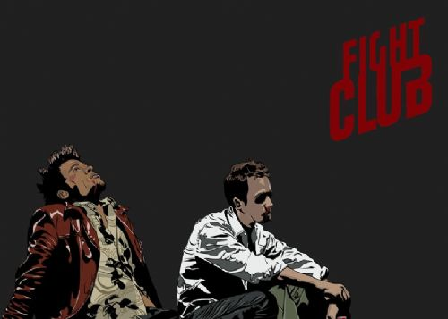 1990's Movie - FIGHT CLUB GREY ART LOGO canvas print - self adhesive poster - photo print